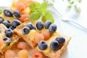 blåbär och hallonpaj foto