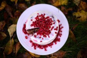 rustik chokoholisk kaka med granatäpple foto