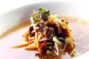 färsk gourmet soppa med kött foto