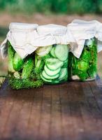 inlagda gurkor gjorda med trädgårdsgrönsaker och örter foto