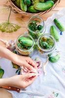 betning gurkor med trädgårdsgrönsaker och örter foto