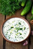 sommar kall soppa med gurkor foto