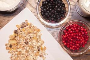 blåbär, lingonberry och müsli foto