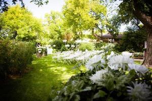 sommar utomhus bröllop foto