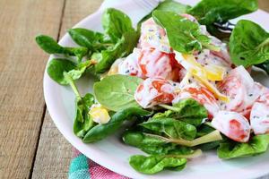 sallad med paprika, tomater med grekisk yoghurt foto