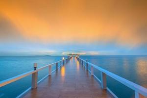 landskap av trädbevuxen bro foto