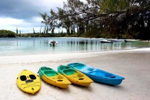 färgglada kajaker på sandstranden, tallar, ny kaledonien foto