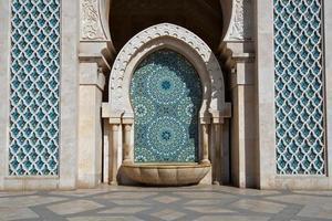 traditionell marockansk fontän, kung Hassan II moské, Casablanca foto