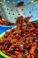 utomhus cajun festival crawfish skålen kryddig skaldjur foto
