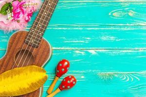 ukulele bakgrund / ukulele / ukulele med hawaii stil backgro foto