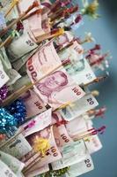 närbild av thailändska pengar bakgrund foto