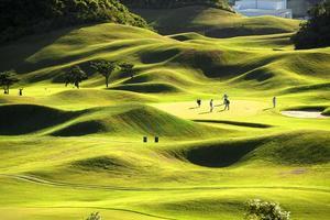 golfplats med underbart grönt foto