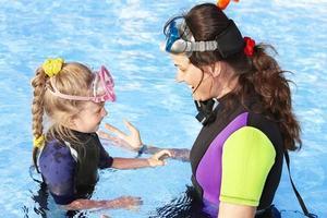 barn med mamma i poolen.