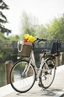 cykel med korg och blommor foto