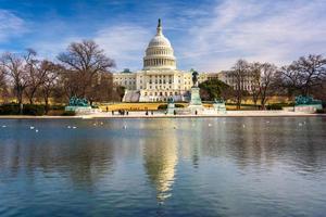 USA: s huvudstad och reflekterande pool i Washington, DC. foto