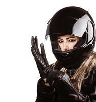 kvinna som bär motorsportdräkt foto