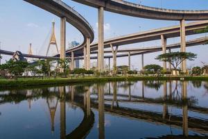 ringväg och bhumibol bridge på blå himmel foto