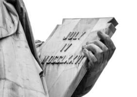 självständighetstablett av statyn av frihet foto