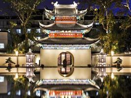 Kina nanjing confucius tempel nära mörkt foto