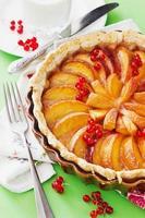 fruktkaka med persikor foto