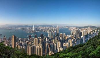 Hong Kong och kowloon panoramautsikt foto