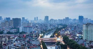 Flygfoto över hanoi skyline cityscape foto