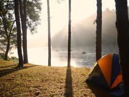 camping i skogen foto