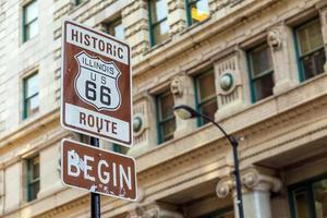 väg 66 skylt i chicago foto