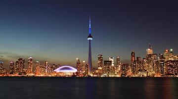 toronto skyline på natten, Kanada foto