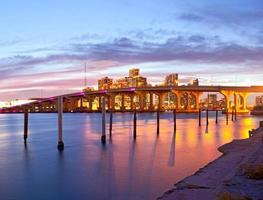 staden Miami florida, panorama för sommarsolnedgång foto