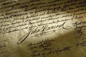 john hancock-signatur om usa-förklaringen om oberoende foto