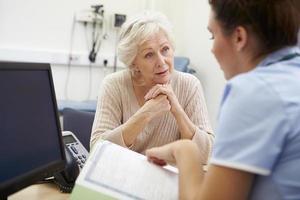 sjuksköterska diskuterar testresultat med patienten