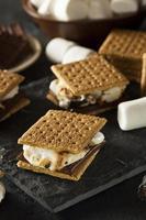 s'mores med marshmallows choklad och graham crackers foto