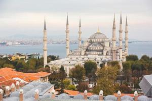 Flygfoto över blå moskén i istanbul