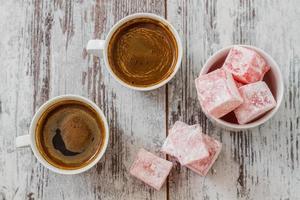 turkiskt kaffe med turkisk glädje