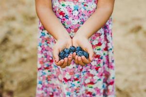 barns händer som håller druvor foto