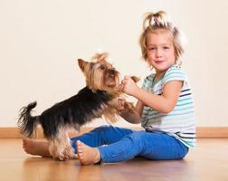 barn som håller yorkshire terrier foto
