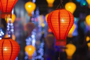 asiatiska lyktor i lyktafestival foto