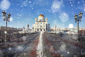 snöfall i Moskva foto