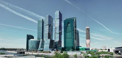 moderna skyskrapor i Moskva foto