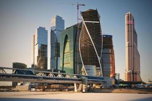 Moskva stadens affärscentrum på vintern