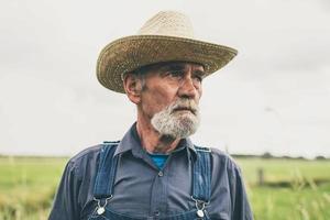 tankeväckande äldre manlig jordbrukare med stråhatt foto