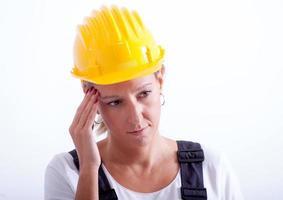kvinnlig byggnadsarbetare
