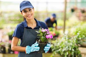 kvinnlig plantskapsägare med kruka med blommor foto