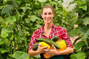 kvinnlig trädgårdsmästare i marknadsträdgård eller plantskola foto