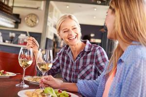 två kvinnliga vänner på en restaurang foto