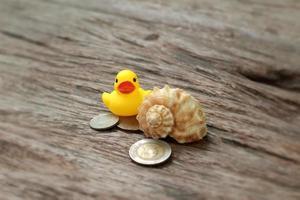 gul gummiand och sedlar, mynt på träbakgrund foto