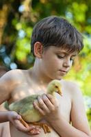 liten pojke med gosling foto