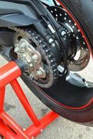 motorcykel paddock stativ. foto