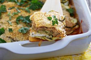vegetarisk zucchini och ricotta bakar
